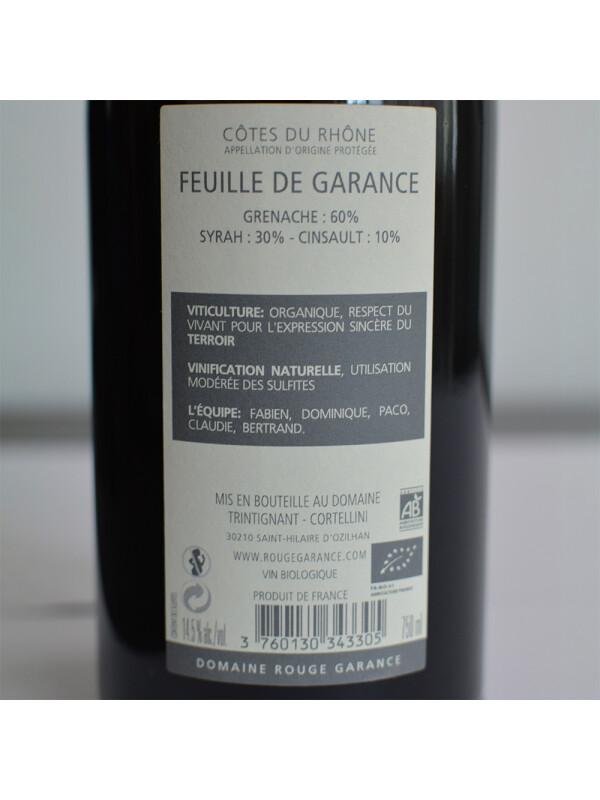 Domaine Rouge Garance - Feuille de Garance AOP BIO 2018 - 0.75L, Alc: 14.5%