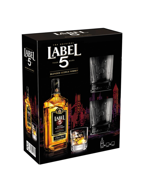 Label 5 - Scotch Blended Whisky GB + 2 pahare - 0.7L, Alc: 40%