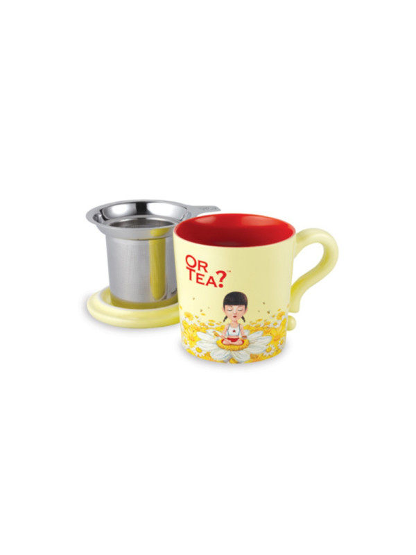 Or Tea? - Cana ceramica Dusk Ivory + capac si strecuratoare inox