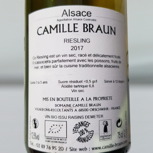 Domaine Camille Braun - Riesling Tradition AOP BIO 2017 - 0.75L, Alc: 12.5%