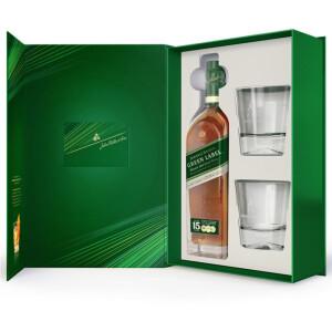 Johnnie Walker - Green Label Scotch Blended Malt Whisky 15 yo + 2 pahare - 0.7L, Alc: 43%