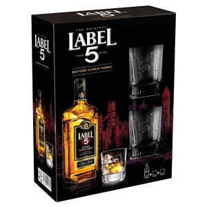 Label 5 - Scotch blended whisky + 2 pahare - 0.7L, Alc: 40%