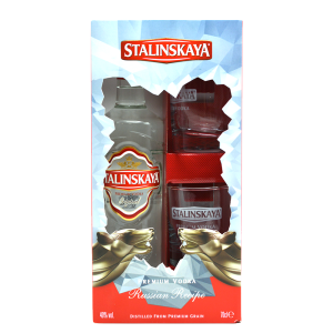 Stalinskaya - Vodka Red + 2 pahare - 0.7L, Alc: 40%