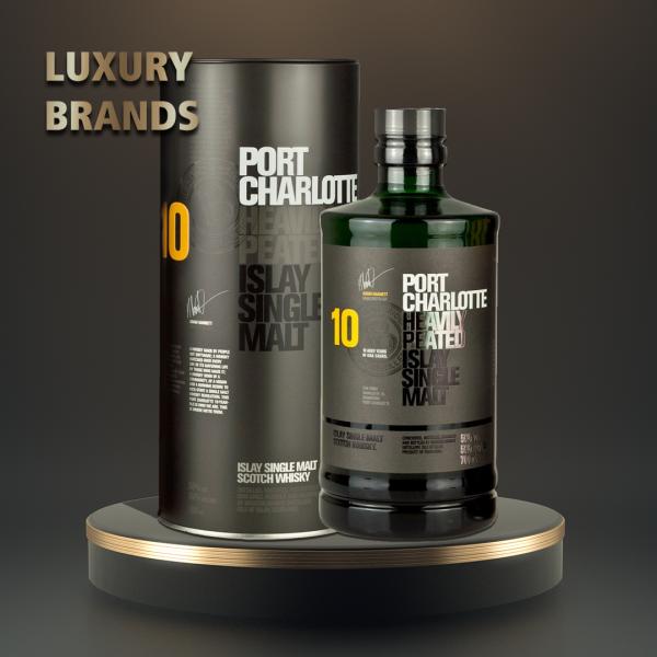 Port Charlotte - Scotch single malt whisky tin box 10 yo - 0,7L, Alc: 50%