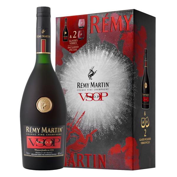 Remy Martin - Cognac VSOP + 2 pahare gift box - 0.7L, Alc: 40%