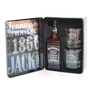 Jack Daniel's - Tennessee whiskey tin box + 2 pahare - 0.7L