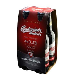 Budweiser Budvar - Bere Dark lager 4 buc x 0,33L , Alc: 4.7%