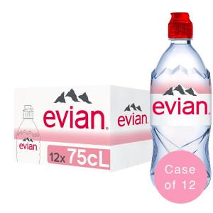 Evian - Sport cap, apa minerala naturala (plata) 12 buc. x 0.75L - PET
