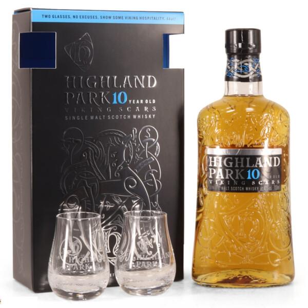 Highland Park - Scotch single malt whisky 10 yo + 2 pahare - 0.7L, Alc: 40%