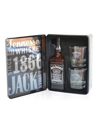 Jack Daniel's - Tennessee whiskey tin box + 2 pahare - 0.7L, Alc: 40%