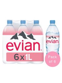 Evian - Apa minerala naturala (plata) 6 buc x 1L pet