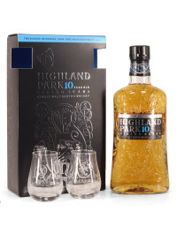 Highland Park - Scotch single malt whisky 10 yo + 2 pahare - 0.7L, Alc: 40%