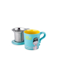 Or Tea? - Cana ceramica Turquoise + capac si strecuratoare inox