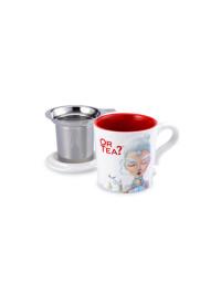 Or Tea? - Cana ceramica White + capac si strecuratoare inox